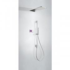 Tres Shower Technology kompletny zestaw prysznicowy podtynkowy termostatyczny elektroniczny 2-drożny deszczownica 210x550mm chrom - 612802_O1
