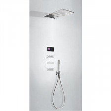 Tres Shower Technology kompletny zestaw prysznicowy podtynkowy termostatyczny elektroniczny 4-drożny deszczownica ścienna chrom - 747706_O1