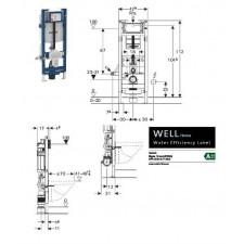 Geberit Duofix - element montażowy do WC, Sigma 12cm, regulowany, H112 - 551710_O1