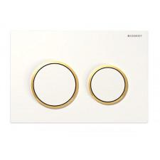 Geberit Omega20 Przycisk uruchamiający, przedni/górny, biały-złoty-biały - 468989_O1
