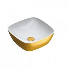 Catalano Green Lux Umywalka nablatowa 40x40 biała/złoty - 786613_O1