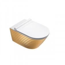Catalano Classy 55 Miska Wc wisząca NewFlush 35x55 +śruby mocujące (5KFST00) biała/złoty - 786681_O1