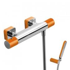 Tres Loft-Colors bateria natryskowa natynkowa termostatyczna z zestawem punktowym kompletna pomarańczowy chrom - 457811_O1