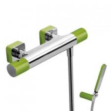 Tres Loft-Colors bateria natryskowa natynkowa termostatyczna z zestawem punktowym kompletna zielony chrom - 457816_O1