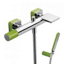 Tres Loft-Colors bateria wannowa natynkowa kaskada z zestawem punktowym zielony chrom - 457808_O1