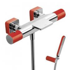 Tres Loft-Colors bateria wannowa natynkowa termostatyczna kaskada z zestawem punktowym czerwony chrom - 457822_O1