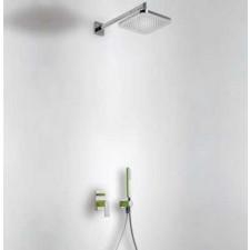 Tres Loft-Colors kompletny zestaw prysznicowy podtynkowy deszczownica 220x220 mm zielony chrom - 457889_O1