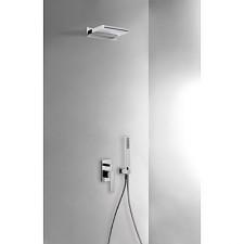 Tres Slim Exclusive kompletny zestaw prysznicowy podtynkowy kaskada ścienna 152x2000 chrom - 525579_O1