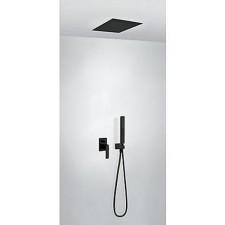 Tres Slim Exclusive kompletny zestaw prysznicowy podtynkowy deszczownica 380x380mm czarny matowy - 742360_O1