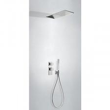 Tres Block System kompletny zestaw prysznicowy podtynkowy termostatyczny 2-drożny deszczownica 160x550mm chrom - 612871_O1