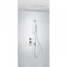 Tres Block System kompletny zestaw prysznicowy podtynkowy termostatyczny 2-drożny deszczownica 380x380mm chrom - 612878_O1