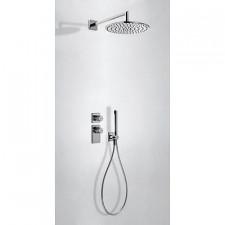 Tres Block System kompletny zestaw prysznicowy podtynkowy termostatyczny 2-drożny deszczownica O300mm chrom - 612803_O1