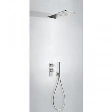 Tres Block System kompletny zestaw prysznicowy podtynkowy termostatyczny 2-drożny deszczownica 160x550mm chrom - 612881_O1