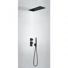 Tres Block System kompletny zestaw prysznicowy podtynkowy termostatyczny 2-drożny deszczownica 160x550mm czarny matowy - 757395_O1