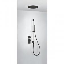 Tres Block System kompletny zestaw prysznicowy podtynkowy termostatyczny 2-drożny deszczownica średnica380mm czarny matowy - 755456_O1