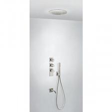 Tres Block System kompletny zestaw prysznicowy podtynkowy termostatyczny 3-drożny deszczownica średnica380mm wylewka stalowy - 751284_O1