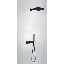 Tres Block System kompletny zestaw prysznicowy podtynkowy termostatyczny 2-drożny deszczownica 300x300mm czarny matowy - 741053_O1