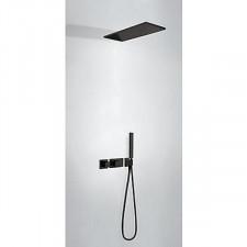 Tres Block System kompletny zestaw prysznicowy podtynkowy termostatyczny 2-drożny deszczownica 210x550mm czarny matowy - 754084_O1