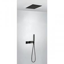 Tres Block System kompletny zestaw prysznicowy podtynkowy termostatyczny 2-drożny deszczownica 380x380mm czarny matowy - 754184_O1