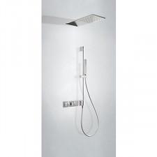 Tres Block System kompletny zestaw prysznicowy podtynkowy termostatyczny 2-drożny deszczownica 210x550mm chrom - 612904_O1