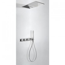 Tres Block System kompletny zestaw prysznicowy podtynkowy termostatyczny 3-drożny deszczownica 280x550mm chrom - 525257_O1