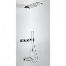 Tres Block System kompletny zestaw prysznicowy podtynkowy termostatyczny 3-drożny deszczownica 210x550mm wylewka kaskada chrom - 525285_O1