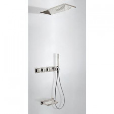Tres Block System kompletny zestaw prysznicowy podtynkowy termostatyczny 3-drożny deszczownica 210x550mm stalowy - 525421_O1