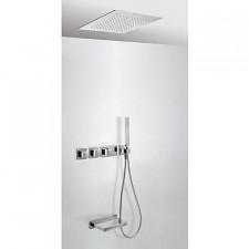 Tres Block System kompletny zestaw prysznicowy podtynkowy termostatyczny 3-drożny deszczownica380x380mm wylewka kaskada chrom - 525007_O1