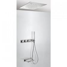 Tres Block System kompletny zestaw wannowo-prysznicowy podtynkowy termostatyczny Chromoterapia 3-drożny z wylewką do wanny deszczownica 500x500mm chrom - 525338_O1