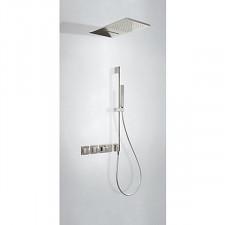 Tres Block System kompletny zestaw prysznicowy podtynkowy termostatyczny 3-drożny deszczownica 280x550mm stalowy - 755022_O1