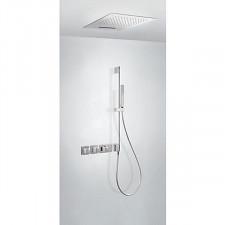 Tres Block System kompletny zestaw prysznicowy podtynkowy termostatyczny 3-drożny deszczownica 500x500mm chrom - 612854_O1