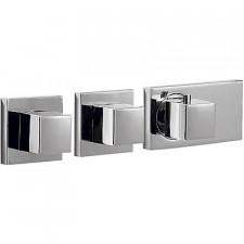 Tres Block System bateria podtynkowa termostatyczna 3-drożna kompletna chrom - 525037_O1