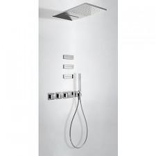 Tres Block System kompletny zestaw prysznicowy podtynkowy termostatyczny 4-drożny deszczownica 280x550mm chrom - 525138_O1