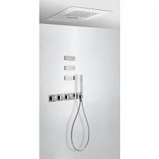 Tres Block System kompletny zestaw prysznicowy podtynkowy termostatyczny 4-drożny deszczownica 500x500mm chrom - 525022_O1
