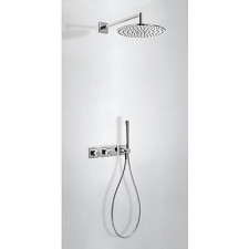 Tres Block System kompletny zestaw prysznicowy podtynkowy termostatyczny 2-drożny deszczownica O300mm chrom - 525357_O1