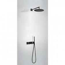 Tres Block System kompletny zestaw prysznicowy podtynkowy termostatyczny 2-drożny deszczownica O300mm czarny matowy - 744255_O1