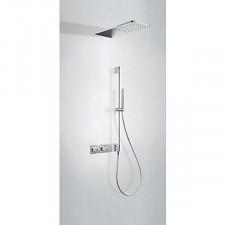 Tres Block System kompletny zestaw prysznicowy podtynkowy termostatyczny 2-drożny deszczownica 210x550mm chrom - 612758_O1