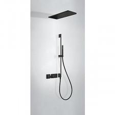 Tres Block System kompletny zestaw prysznicowy podtynkowy termostatyczny 2-drożny deszczownica 210x550mm czarny matowy - 743183_O1
