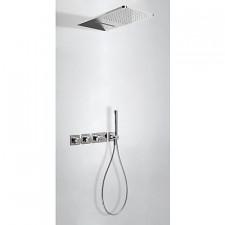 Tres Block System kompletny zestaw prysznicowy podtynkowy termostatyczny 3-drożny deszczownica 280x550mm chrom - 525447_O1