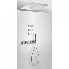 Tres Block System kompletny zestaw prysznicowy podtynkowy termostatyczny Chromoterapia 3-drożny deszczownica 500x500mm chrom - 525158_O1