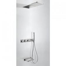 Tres Block System kompletny zestaw prysznicowy podtynkowy termostatyczny 3-drożny deszczownica 210x550mm wylewka kaskada chrom - 525171_O1