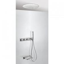 Tres Block System kompletny zestaw prysznicowy podtynkowy termostatyczny 3-drożny deszczownica O380mm wylewka kaskada chrom - 525097_O1
