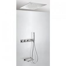 Tres Block System kompletny zestaw wannowo-prysznicowy podtynkowy termostatyczny Chromoterapia 3-drożny z wylewką do wanny deszczownica 500x500mm chrom - 525272_O1