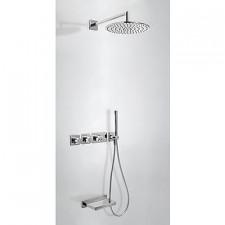 Tres Block System kompletny zestaw prysznicowy podtynkowy termostatyczny 3-drożny deszczownica O300mm wylewka kaskada chrom - 525071_O1