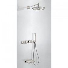 Tres Block System kompletny zestaw prysznicowy podtynkowy termostatyczny 3-drożny deszczownica O300mm wylewka kaskada stalowy - 524992_O1