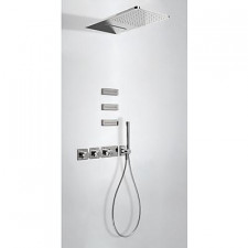 Tres Block System kompletny zestaw prysznicowy podtynkowy termostatyczny 4-drożny deszczownica 280x550mm chrom - 525305_O1