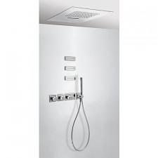 Tres Block System kompletny zestaw prysznicowy podtynkowy termostatyczny 4-drożny deszczownica 500x500mm chrom - 525422_O1