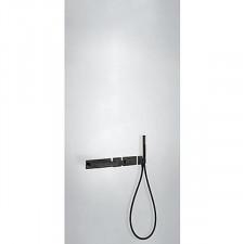 Tres Block System kompletny zestaw wannowo-prysznicowy podtynkowy termostatyczny 2-drożny wylewka kaskada czarny matowy - 746885_O1