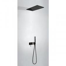 Tres 3V kompletny zestaw prysznicowy podtynkowy 3-drożny deszczownica 280x550mm czarny matowy - 746720_O1