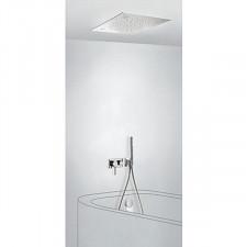 Tres 3V kompletny zestaw wannowo-prysznicowy podtynkowy 3-drożny z wylewką do wanny Chromoterapia deszczownica 500x500mm chrom - 720673_O1
